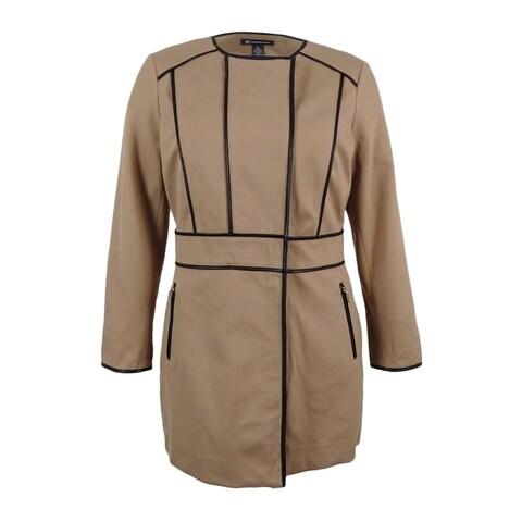INC International Concepts Women's Faux-Leather-Trim Jacket (XL, Misty Brown) - misty brown