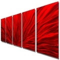 Statements2000 Red 5 Panel Contemporary Metal Wall Art by Jon Allen - Red Plumage - Thumbnail 8