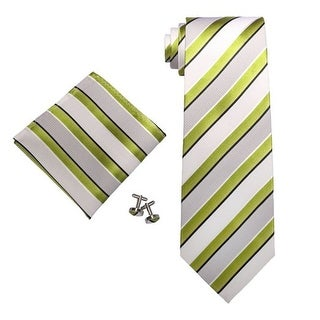 Men's Stripes Green 100% Silk Tie Set With Hanky & Cufflinks 305S