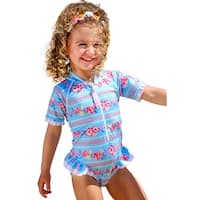 Sun Emporium Baby Girls Sky Blue Pink Print Short Sleeve Frill Suit