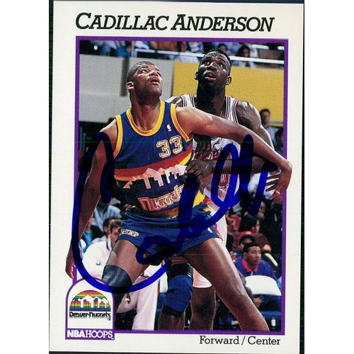 newest f7746 bae7f Signed Anderson Cadillac Denver Nuggets 1991 NBA Hoops Basketball Card  autographed