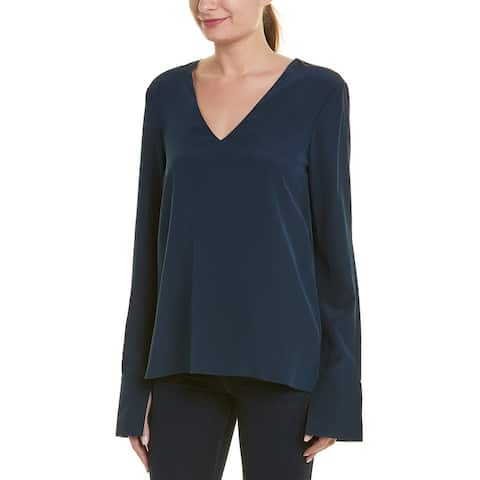 Tibi Heavy V-Neck Silk Top