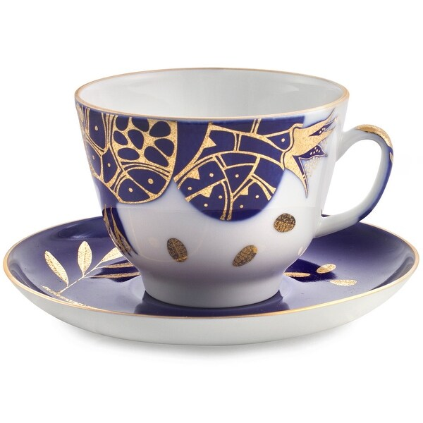 Imperial Porcelain Factory Golden Pomegranate Teacup and Caucer Set. Opens flyout.