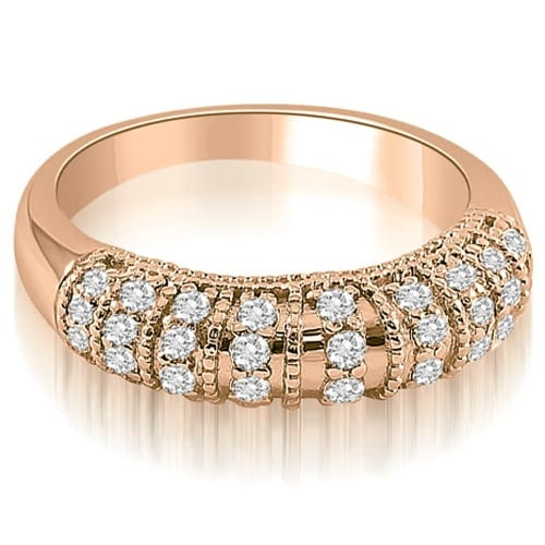 0.45 cttw. 14K Rose Gold Antique Style Milgrain Round Cut Diamond Wedding Ring