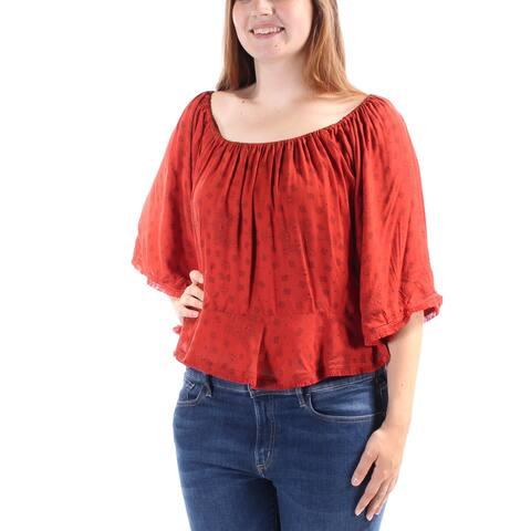 BUFFALO Womens Red Kimono Sleeve Boat Neck Top Size: L