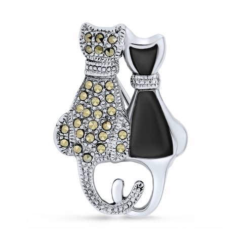 Black White Marcasite Sitting Cat Kitten Brooch Pin Sterling Silver