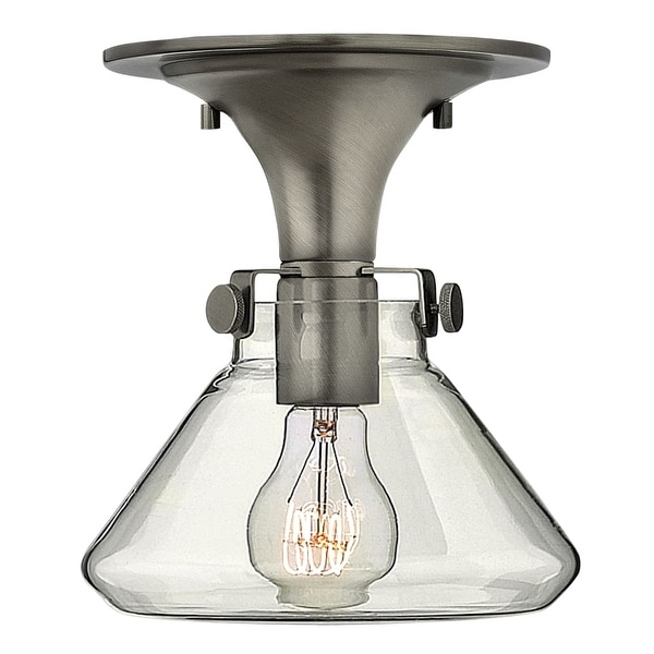 """Hinkley Lighting 3146 1-Light 8""""W Indoor Semi-Flush Ceiling Fixture with Clear Cone Shaped Shade from the Congress Collection"""