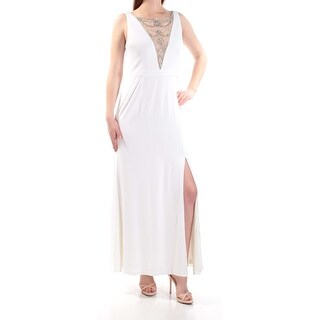 Womens Ivory Sleeveless Maxi Shift Formal Dress Size: 10