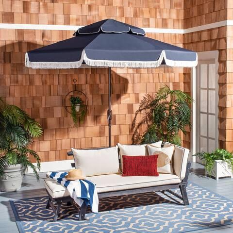 SAFAVIEH Outdoor Living Milan Fringe 9Ft Double Top Crank Umbrella