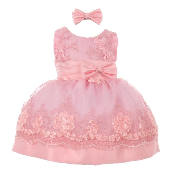 Baby Girls Pink Floral Sequin Embroidered Headband Flower Girl Dress