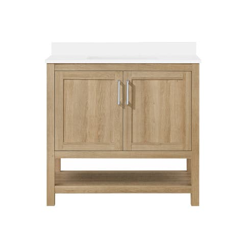 "Ove Decors Vegas 36"" Bathroom Vanity Combo w/ Top and Backslplash, White Oak"