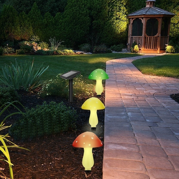 Shop outdoor solar garden lights solar powered mushroom - Decorative garden lights solar powered ...
