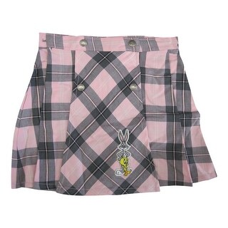 WB Girls Pink Plaid Looney Tunes Character Applique Button Skirt 7-12