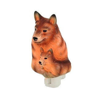 Gray Wolf and Pup Shaped Porcelain Night Light