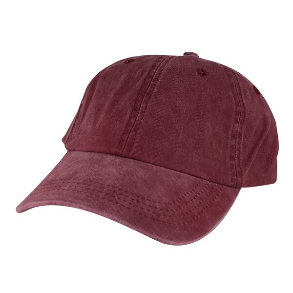 Skateboard Dye Washed Unstructured Dad Cap Adjustable Strapback Hat - Burgundy