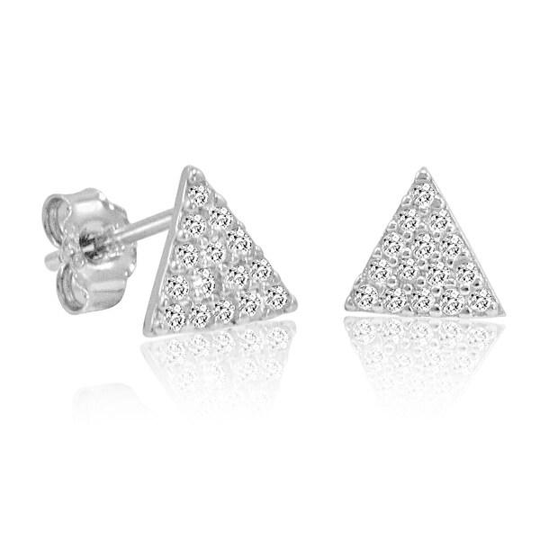 Amanda Rose Cubic Zirconia Triangle Stud Earrings in Sterling Silver