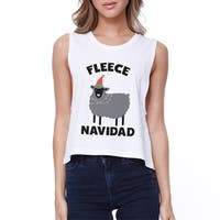 Fleece Navidad Womens White Crop Tank Top