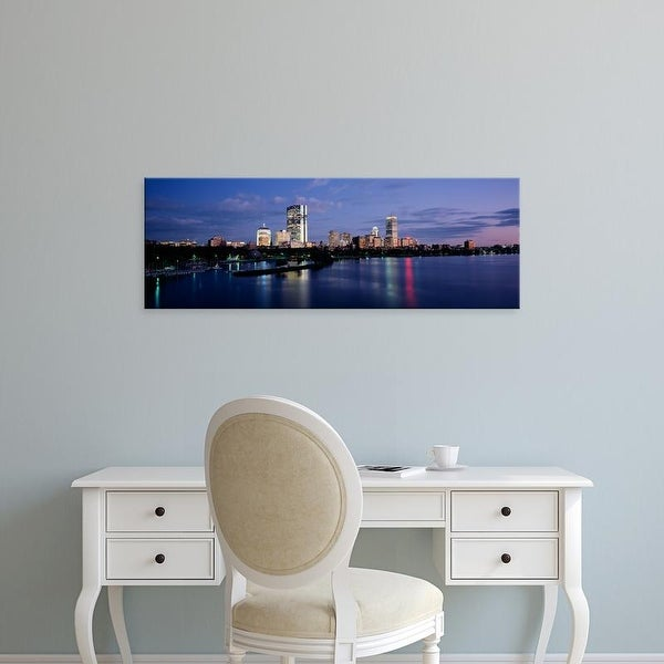 Easy Art Prints Panoramic Images's 'Buildings On The Waterfront At Dusk, Boston, Massachusetts, USA' Canvas Art