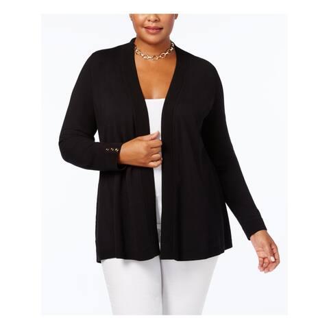 CHARTER CLUB Womens Black Long Sleeve Open Cardigan Sweater Size 0X