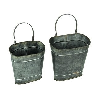 Hanging Distressed Tin Oval Wall Baskets Set of 2 - 18.25 X 12 X 6 inches