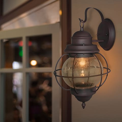 """Kustatan Wall Sconce 1-light Outdoor Bronze Wall Lamp by Havenside Home - 10.2""""W x 17'H"""