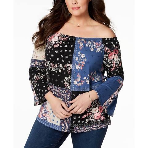 Style & Co Blue Women's 2X Plus Patchwork-Print Off-Shoulder Top
