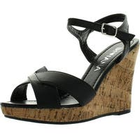 Diviana Carina-65 Womens Criss Cross Cork Platform Ankle Strap Wedge Sandals