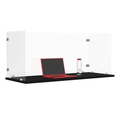 "RECLAIM Trifold Acrylic Desk Shield- 58"" x 24"" Freestanding, Clear"