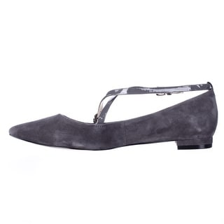 Nine West Womens Anastagia Suede Pointed Toe Ankle Strap Mary Jane Flats