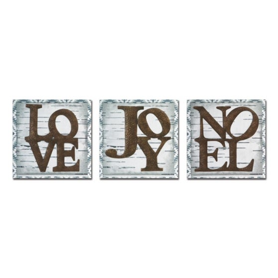 """Club Pack of 9 Wood """"Love"""", """"Joy"""" and """"Noel"""" Wall Hangings 15"""" - brown"""