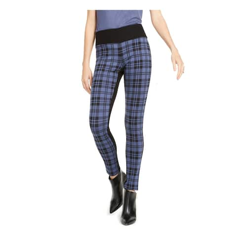 INC Womens Blue Plaid Skinny Pants Size 14