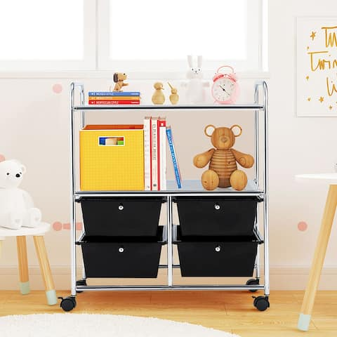 Rolling Storage Cart Metal Rack Shelf with 4 Drawers 2 Shelves