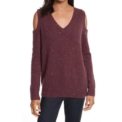 Rebecca Minkoff Women Sweater Purple Sz L Speckled Cold-Shoulder V-Neck