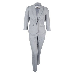 Le Suit Women's One-Button Pinstriped Pantsuit - Light Stone - 12