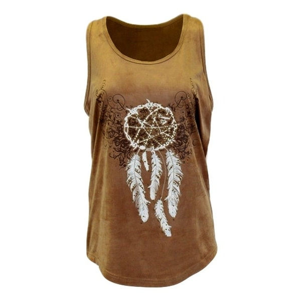 Cowgirl Tuff Western Shirt Womens Dreamcatcher Tank Top Tan