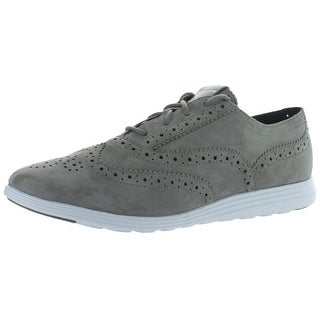 Cole Haan Womens Grand Tour Wingtip Shoes Suede Perforated