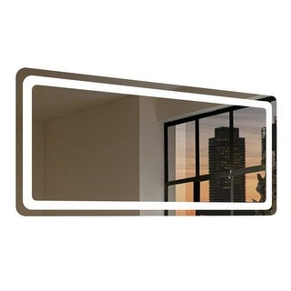 "Miseno MM6228LED 62"" W x 28"" H Rectangular Frameless Wall Mounted Mirror with LED Lighting - N/A"