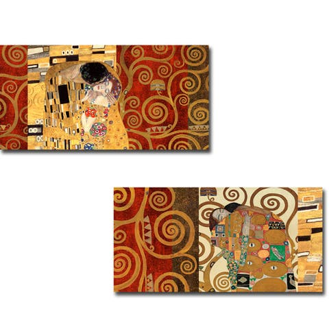 The Kiss & The Embrace (Gold) by Gustav Klimt 2-pc Gallery Wrapped Canvas Giclee Set (12 in x 24 in Each Canvas in Set)