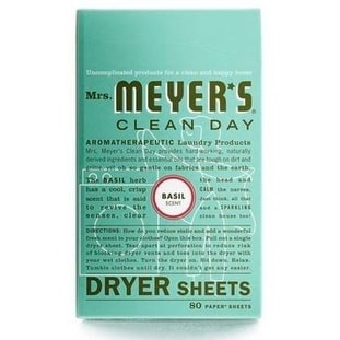 Mrs Meyers Clean Day 14448 Dryer Sheets, Basil Scent, 80 Count.