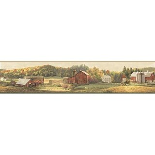 Brewster TLL01521B Winder Beige Luther's Farm Border Wallpaper