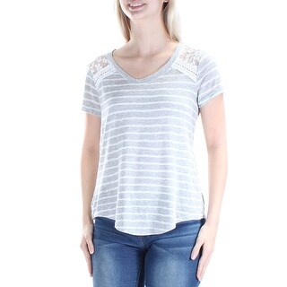 MAISON JULES $39 Womens New 1059 Gray White Striped Lace Hi-Lo Sweater S B+B