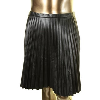 Tahari ASL Womens Faux Leather Pleated A-Line Skirt