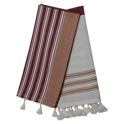 Foreside Home & Garden Set of 2 Red Striped 27 x 18 Inch Woven Cotton Kitchen Tea Towels with Hand Tied Tassels