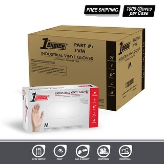 1st Choice Clear Vinyl Ind Latex Free Disposable Gloves Case of 1000 (4 options available)