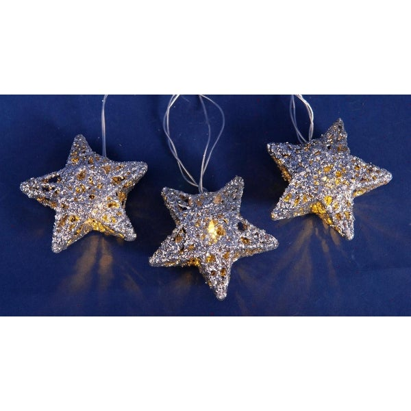 set of 10 battery operated sparkling silver glittered star christmas lights on silver wire clear