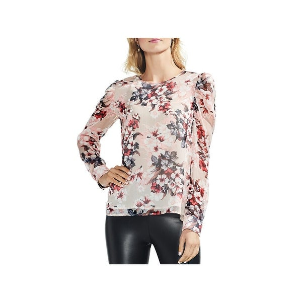 VINCE CAMUTO Womens Sheer Sequined Pullover Top