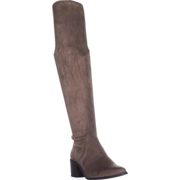 STEVEN Steve Madden Wein Studded Knee High Boots, Taupe