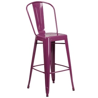 """30'' High Metal Indoor-Outdoor Barstool with Back - 18""""W x 19""""D x 46""""H"""