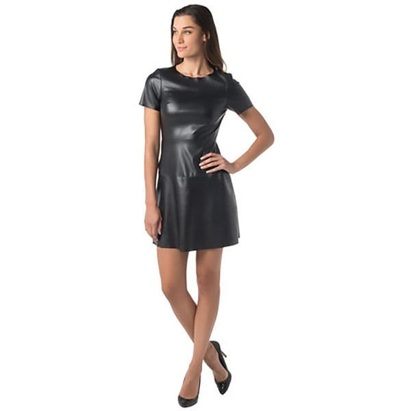 supply & demand Womens Casual Dress Vegan Leather Short Sleeves