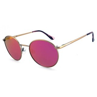 Peppers Polarized Sunglasses Lennon Matte Rose Gold with Pink Mirror Lens